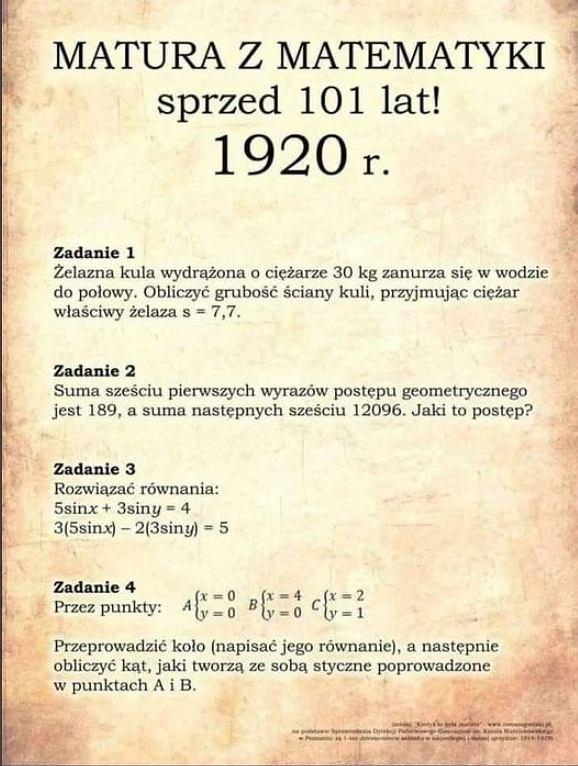 Zadania z egzaminu maturalnego z 1920 roku.