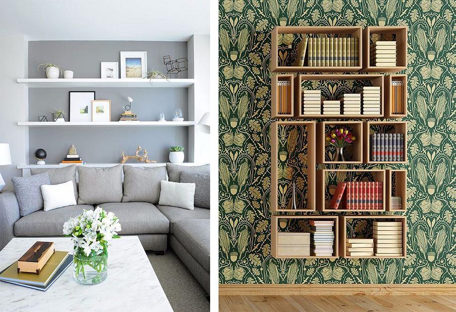 Półka - aranżacja z tapetą i ścianą w kolorze