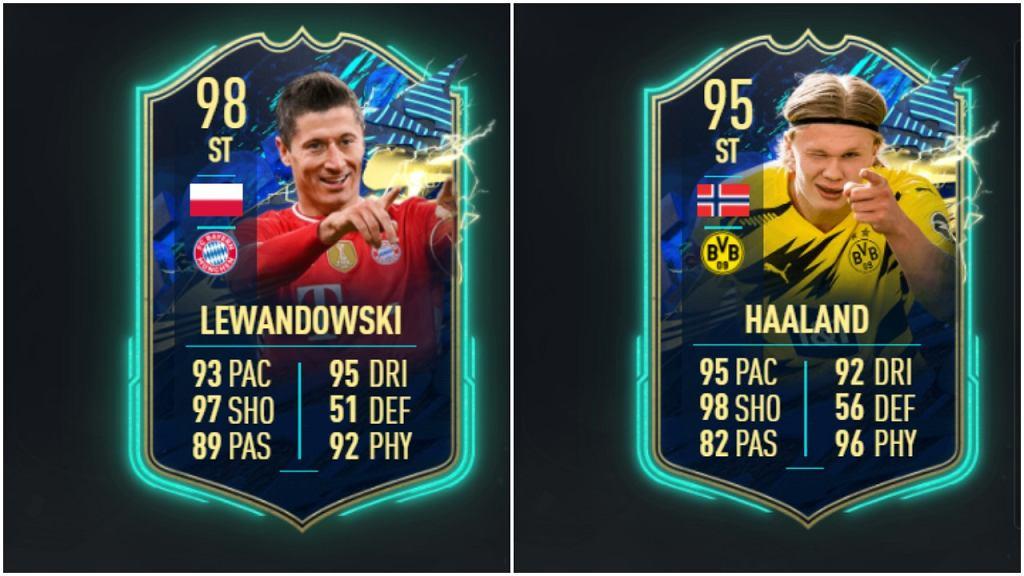 Karty Drużyny Sezonu FIFA 21 Ultimate Team Roberta Lewandowskiego i Erlinga Haalanda