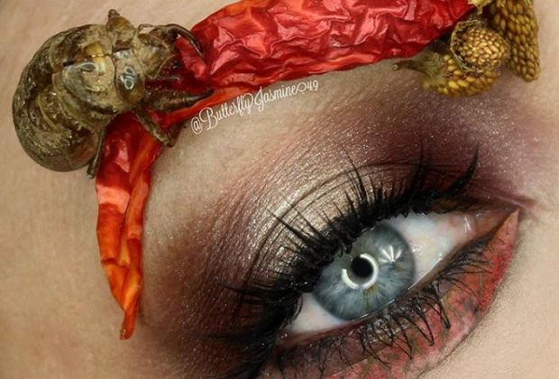 Koszmarny makijaż. Zobacz, jak robaki zastępują zwykłe kosmetyki!