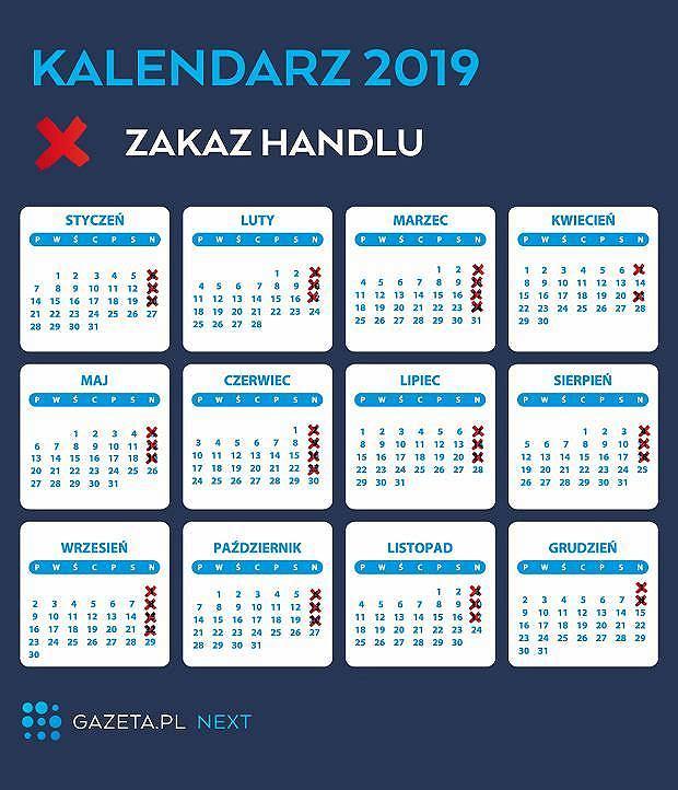 Kalendarz niedziel handlowych na 2019 rok