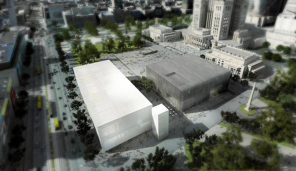 Muzeum Sztuki Nowoczesnej i TR Warszawa - wizualizacja. Muzeum to jasny budynek bliżej Marszałkowskiej, ciemniejszy gmach to Teatr TR Warszawa. Autorem projektu jest pracownia Thomas Phifer & Partners.