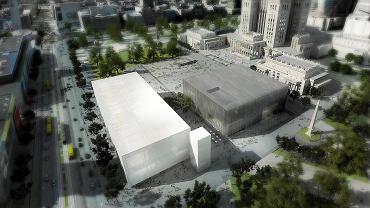 Muzeum Sztuki Nowoczesnej - wizualizacja. Muzeum to biały budynek bliżej Marszałkowskiej, ciemny gmach bliżej Pałacu Kultury to Teatr TR