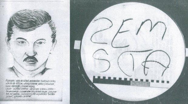 Rysopis podejrzanego o morderstwa chłopców i zdjęcie napisu, jaki zostawił na lustrze
