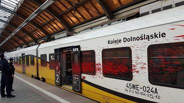 Pomalowany pociąg Kolei Dolnośląskich
