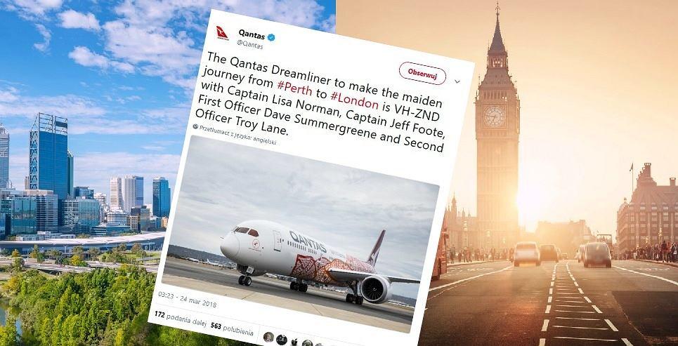 Qantas uruchomił loty z Perth do Londynu