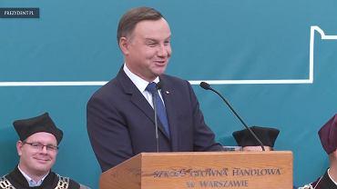 Andrzej Duda przemawia a inauguracji roku akademickiego 2017-18 w SGH