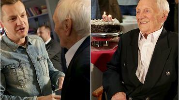 Witold Pyrkosz w Wigilię obchodził 90. urodziny. Z tej okazji ekipa 'M jak Miłość', z którą pracuje od 2000 roku, wyprawiła dla niego wielką fetę. Na imprezie zjawili się producenci, aktorzy i reszta osób pracujących przy serialu, przynosząc solenizantowi piękny tort. Aktor nie krył wzruszenia. Zobaczcie, jak wyglądały jego urodziny!