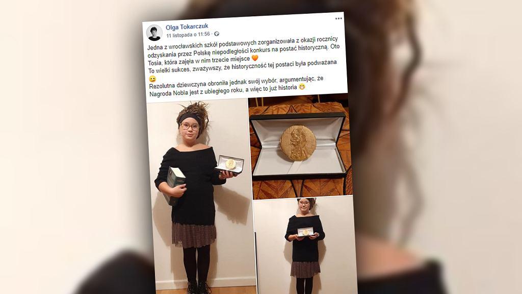 Uczennica przebrała się za Olgę Tokarczuk. Zajęła trzecie miejsce w szkolnym konkursie