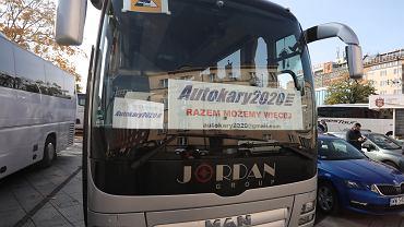 %Protest branzy autokarowej w Krakowie