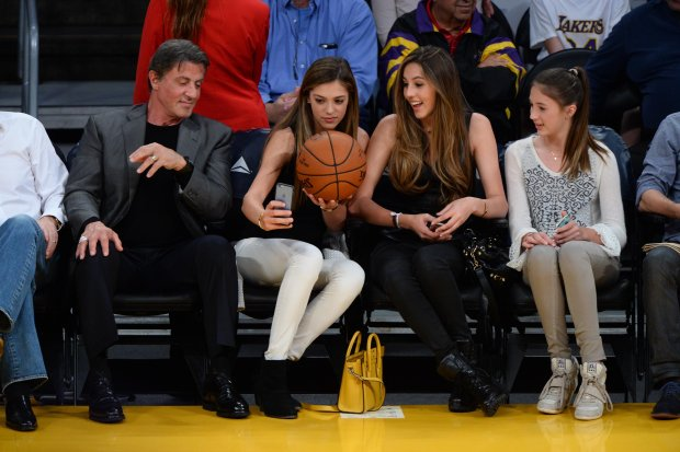 Sylvester Stallone, Sophie Stallone, Sistine Rose Stallone, Scarlet Rose Stallone, SYLVESTER STALLONE AND DAUGHTERS AT LAKER GAME.12/07/14XYZ