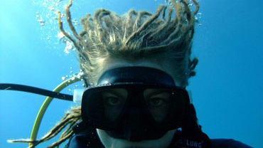 Katrzyna Jagiełło podczas nurkowania.