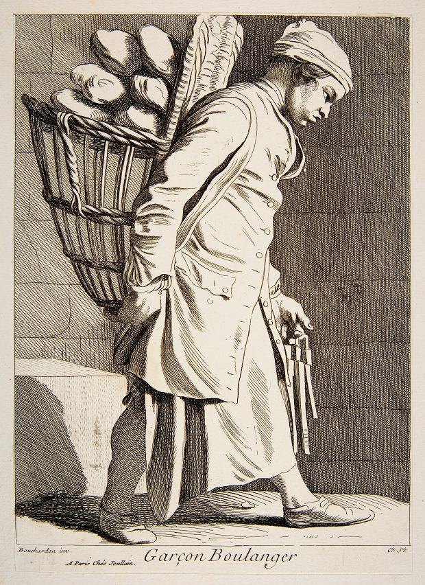 Paryski piekarczyk z koszem chleba, rycina Anne Claude de Caylus (XVIII w.)