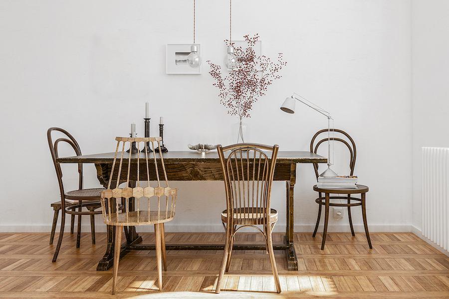 Kultowe krzesła nr 14, które zaprojektował Michael Thonet pięknie prezentują się we współczesnym wnętrzu