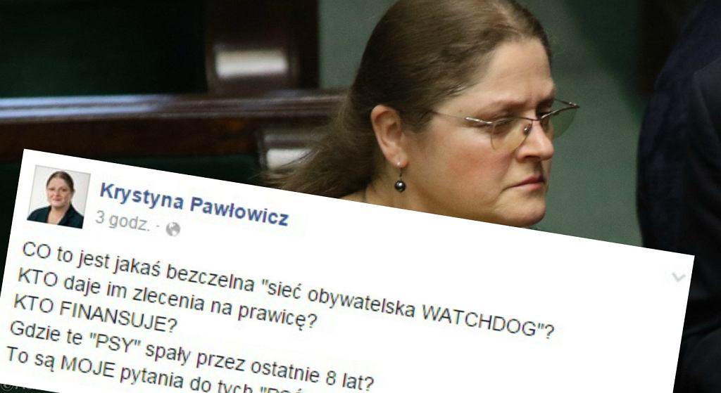Wpis na profilu Krystyny Pawłowicz