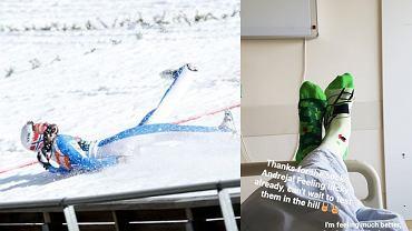 Daniel-Andre Tande w trakcie upadku na skoczni w Planicy oraz zdjęcie ze szpitala. Źródło: AP / Instagram