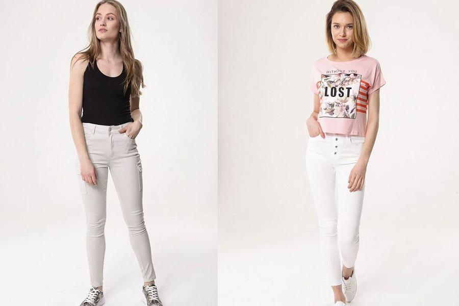 Beżowe i białe spodnie jeansowe