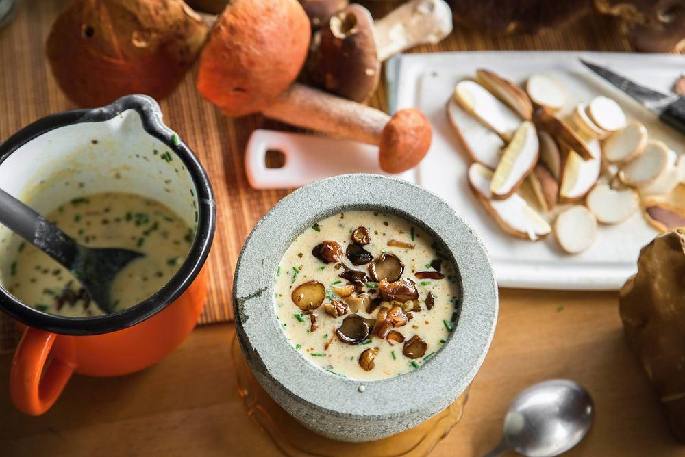 Zupa grzybowa ze świeżych grzybów zabielana śmietaną