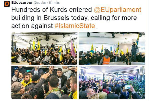 Protest Kurdów w Parlamencie Europejskim w Brukseli