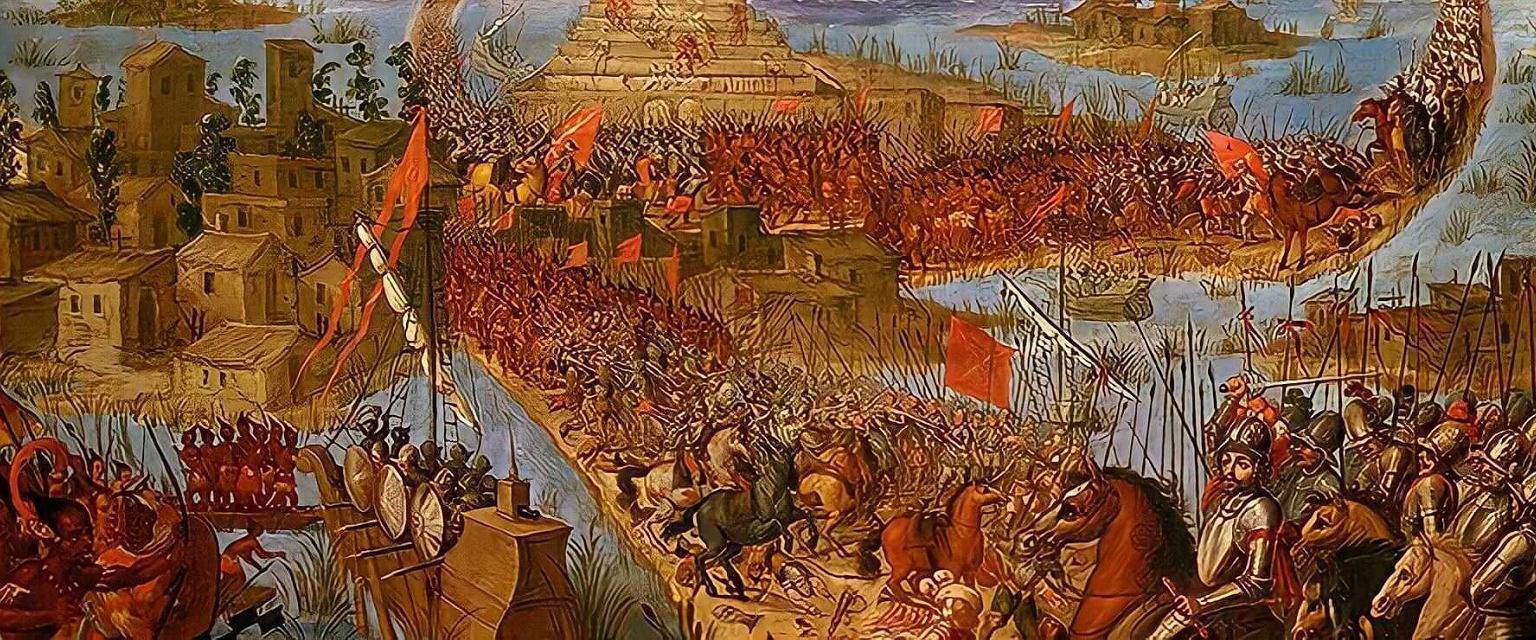 Hernan Cortes atakujący stolicę Azteków, Tenochtitlan, w 1521 roku (fot. Domena publiczna)