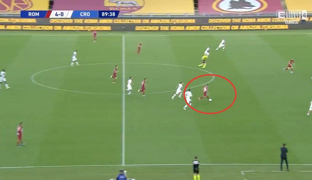 Nicola Zalewski (AS Roma) asysta w meczu Serie A. Źródło: Twitter, Eleven Sports