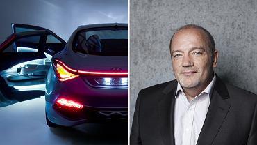 Thomas Bürkle, szef designerów w Hyundai Motor Europe Technical Centre. Po lewej: Hyundai i-flow