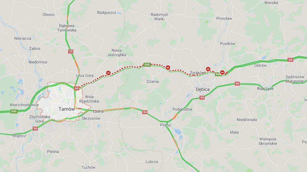 Wypadek na autostradzie A4 koło Tarnowa.