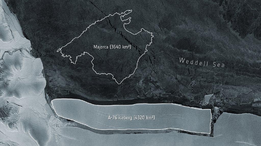 Góra lodowa A-76 na zdjęciach satelitarnych wykonanych przez Copernicus Sentinel-1 (kadr)