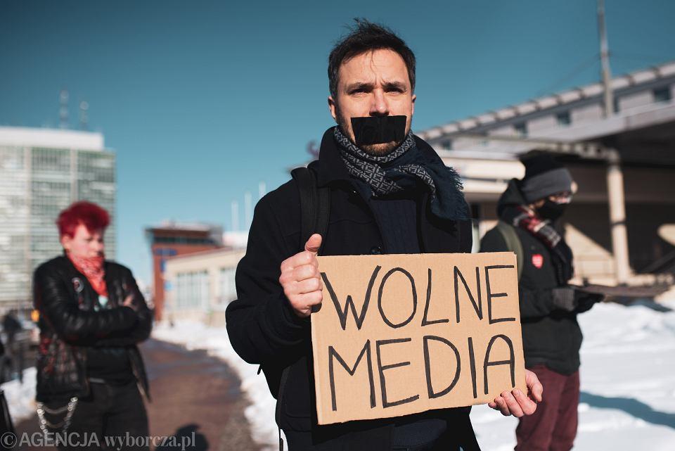 13.02.2021, Gdańsk, manifestacja w obronie wolności mediów.