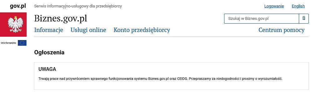 Awaria serwisu Biznes.gov.pl