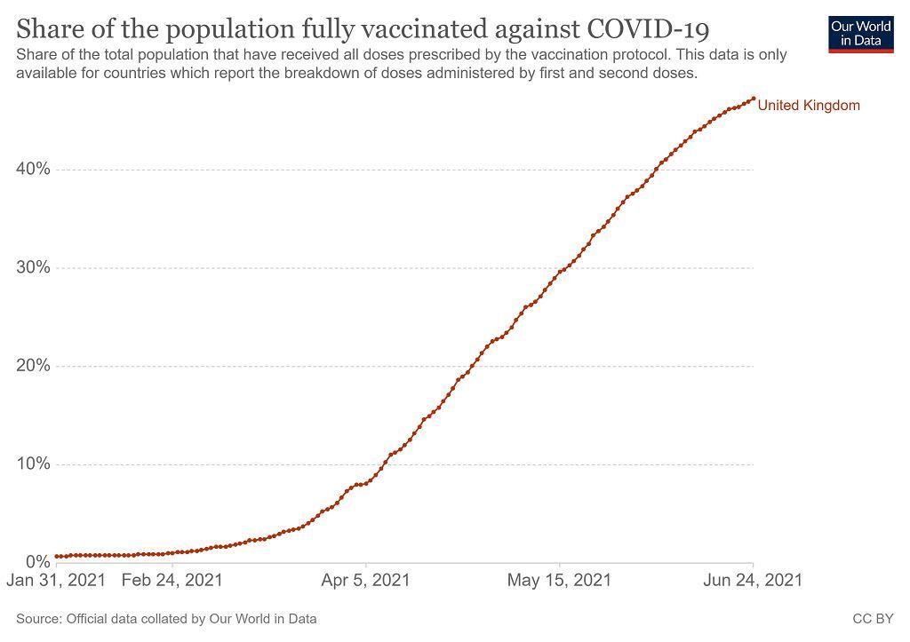 Odsetek osób w pełni zaszczepionych w Wielkiej Brytanii