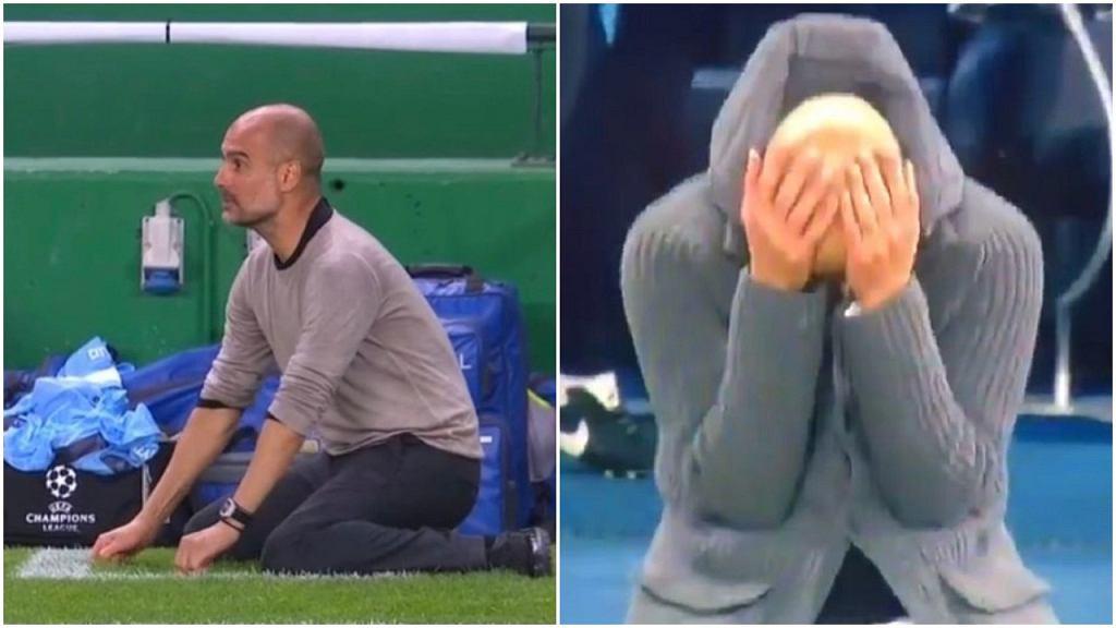 Pep Guardiola na kolanach w ćwierćfinale LM - w meczu z Lyonem (2020) i Tottenhamem (2019)