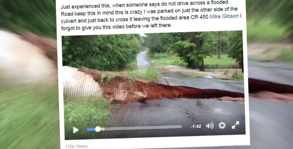 Powódź zmyła fragment drogi