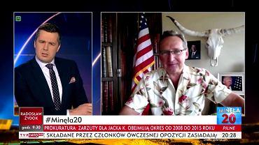Marzec, Michał Rachoń i Wojciech Cejrowski podczas programu 'Minęła 20' w TVP Info