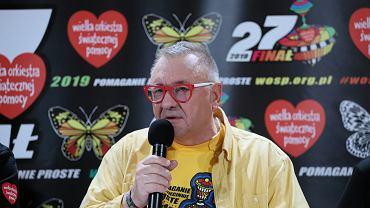 Jurek Owsiak podczas konferencji prasowej. Warszawa, 13 stycznia 2019