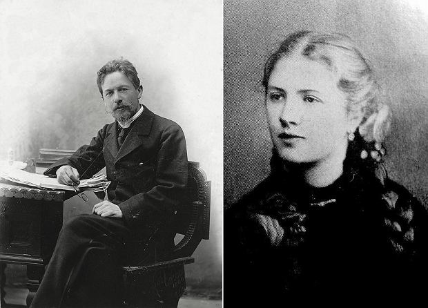Po lewej: Anton Czechow w 1889 r.  Po prawej: Kobieta w złotych warkoczach to Lidia Awiłowa. Gdy się poznali, ona była mężatką / Fot. Wikimedia Comons/domena publiczna