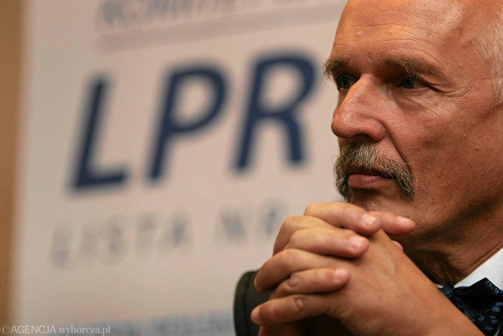 Janusz Korwin-Mikke na konwencji wyborczej LPR