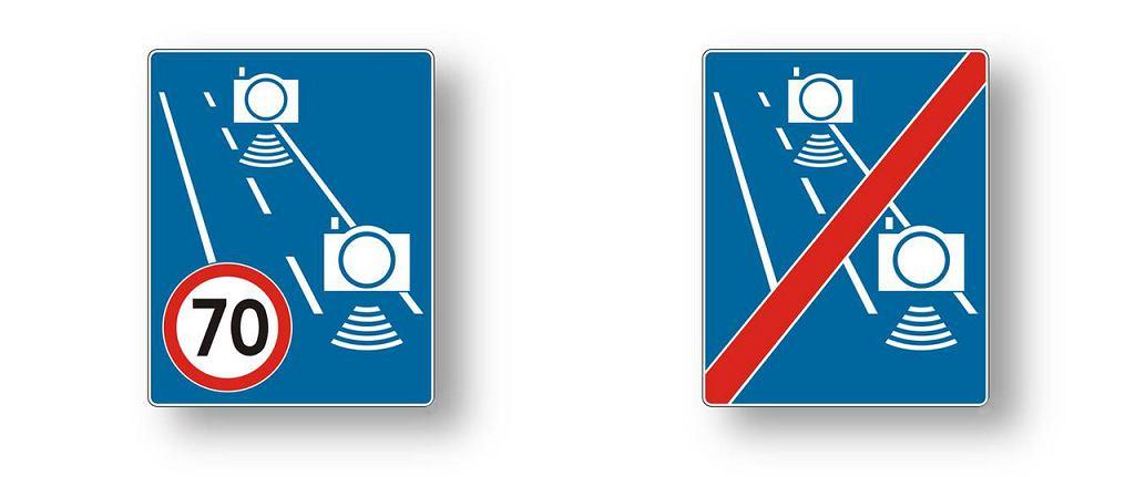 Nowe znaki drogowe informujące o odcinkowym pomiarze prędkości