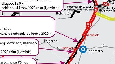 Autostrada A1, granica województw łódzkiego i śląskiego
