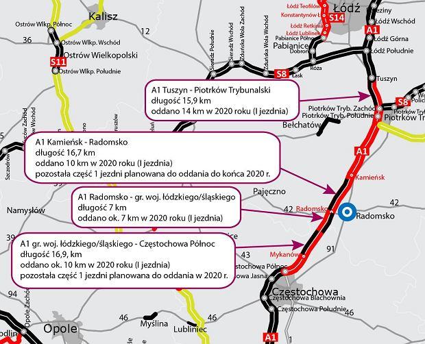 Autostrada A1. Pierwszy nowy odcinek z ruchem 2+2 już dla kierowców [MAPA]
