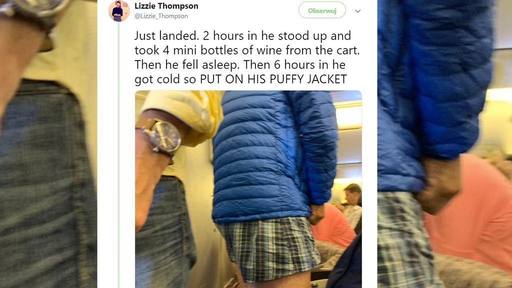 Pasażer podczas lotu z Paryża do Los Angeles rozebrał się i leciał w samych bokserkach