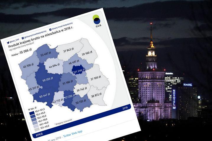 PKB Polski w 2018 r. w podziale na regiony.