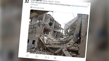 Nigeria. Zawalił się trzypiętrowy budynek, w którym znajdowała się szkoła. Nawet 100 uczniów pod gruzami