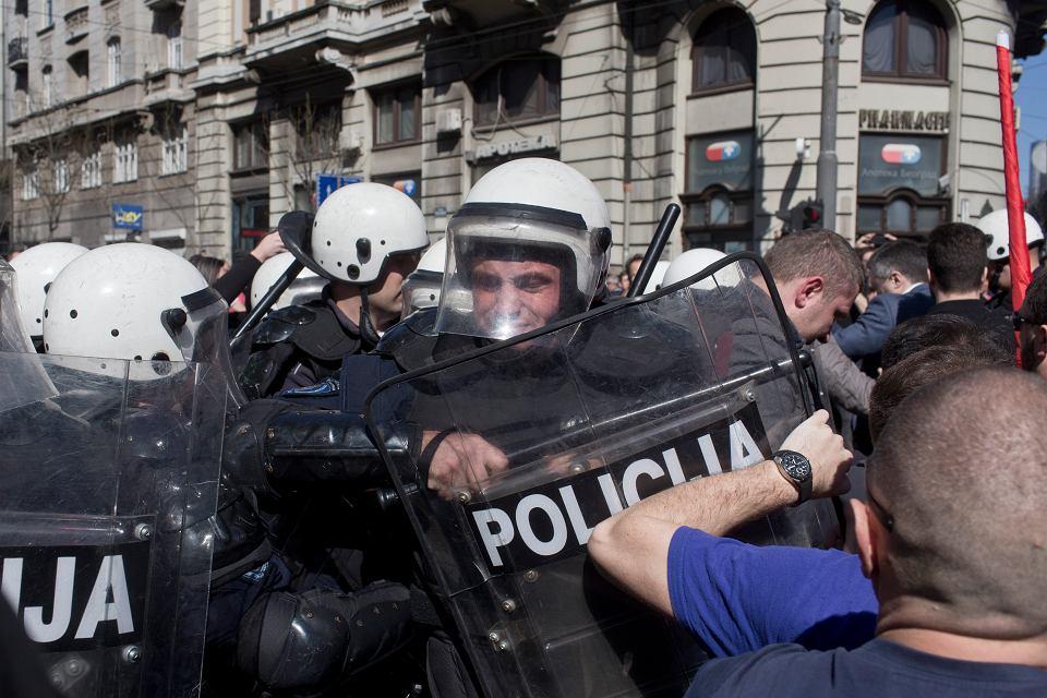 Protest antyrządowy w Belgradzie (Serbia), 17 marca 2019.