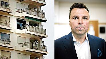 Na zdjęciu z lewej Marek Falenta grozi zatrzymującym go policjantom, że wyskoczy z balkonu hiszpańskiego apartamentowca