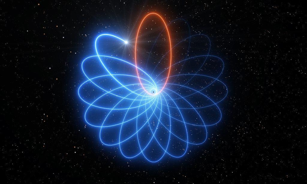 Gwiazda obiegająca czarną dziurę Sagittarius A* potwierdziła właśnie teorię Einsteina (wizja artysty)
