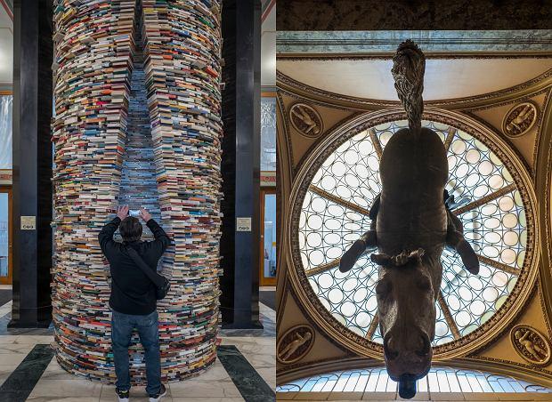Po lewej: słup wiedzy w Pradze, po prawej: rzeźba wiszącego konia w Pałacu Lucerna (fot. Filip Springer)
