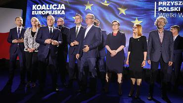 Liderzy Koalicji Europejskiej podczas wieczoru wyborczego, 26 maja 2019.