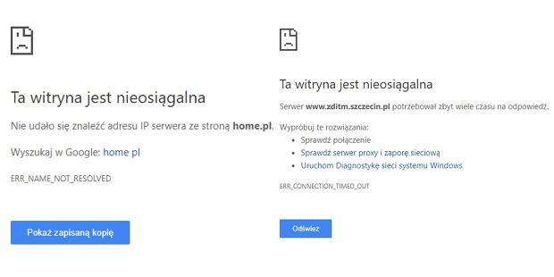 Nie działają serwisy korzystające z home.pl