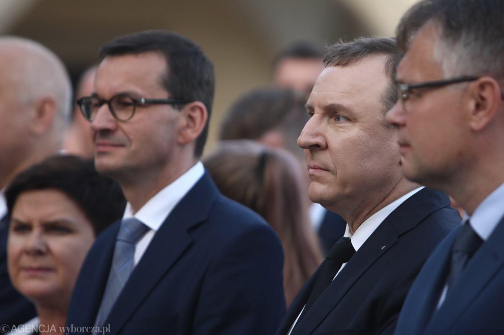 Premier Mateusz Morawiecki i prezes Telewizji Polskiej Jacek Kurski